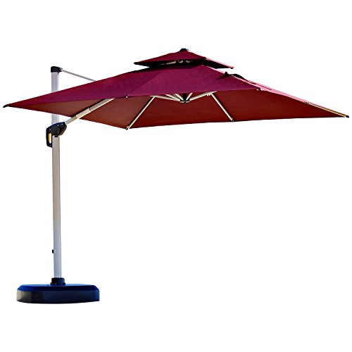 An double-top offset patio umbrella in a maroon shade.