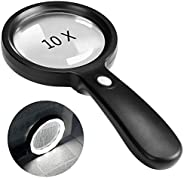 Magnifying Glass with Light, 10X Handheld Large Magnifying Glass 12 LED Illuminated Lighted Magnifier for Macu