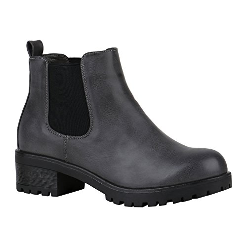 Stiefelparadies Damen Stiefeletten Chelsea Boots mit Blockabsatz Profilsohle Flandell Grau Camiri