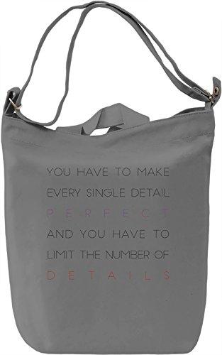 Make Detail Perfect Borsa Giornaliera Canvas Canvas Day Bag| 100% Premium Cotton Canvas| DTG Printing|
