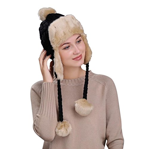 (Women Knit Hat, Elogoog Thick Winter Warm Ski Wool Peruvian Beanie Cap with Ear Flaps (Black 4))