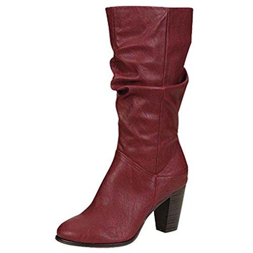 Breckelles Dames Felicia-13 Schattige Dikke Hak Kuit Hoge Laarzen Bes
