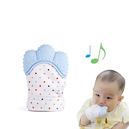 YaptheS 1Pc Silicone Teether Glove Baby Molar Gloves Teething Toys Food Grade Non-Toxic Teething Mitt Provides Soothing Relief from Sore Gum Chewing Silicon Glove Teeth Grading Toy (Blue) / (Glove Gummee)