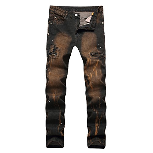 Pantalones Vaqueros Hombre Desgarrar Agujeros Jeans Algodón Pernera Recta Vaqueros Azul,Vaqueros para hombre Straight Fit con estilo desgastado Amarillo