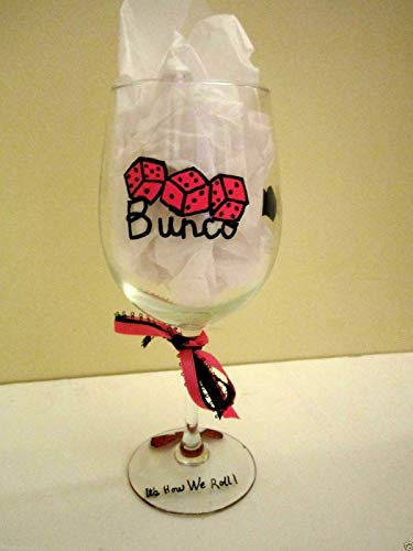 Hand painted wine glass Bunco pink dice 12 oz