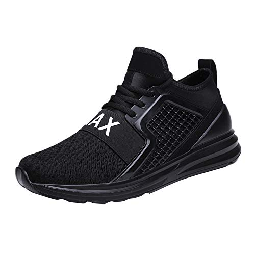 JSPOYOU Casual Mens Lace-Up Running Shoe Wear Resistant Solid Color Sneaker Black
