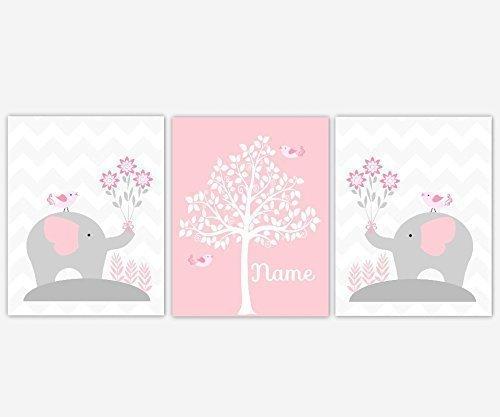 Baby Girl Nursery Wall Art Pink Gray Elephants Personalized Name Silhouette Tree Print Baby Nursery Decor SET OF 3 UNFRAMED PRINTS Personalized Baby Nursery Art