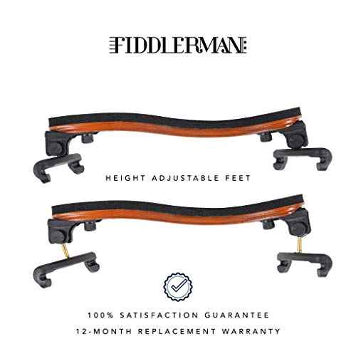 Fiddlerman Wood Violin Shoulder Rest for 4/4 and 3/4 with Collapsible and Height Adjustable Feet