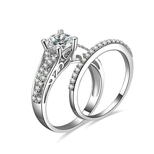 Gentlemans Titanium Diamond Set - Daesar Anniversary Ring Diamond 4-Prong Setting Round Cubic Zirconia Ring Set Ring Size 5.5
