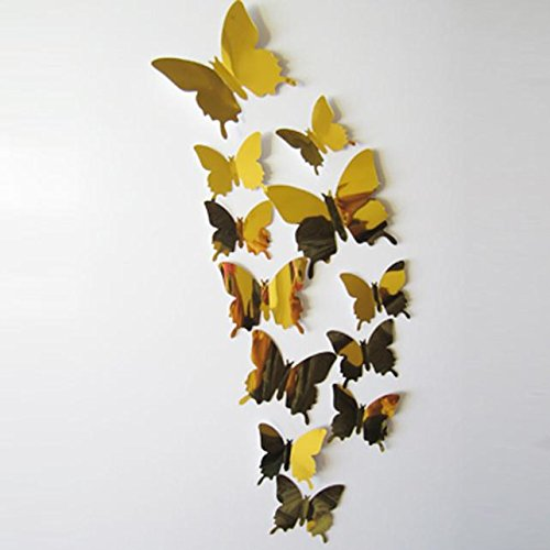 Sunnyys Wall Stickers Decal Butterflies 3D Mirror Wall Art Home Decors Gold