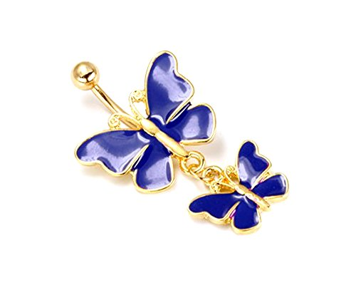 - Painful Pleasures Belly Button Ring Dark Blue Butterfly Navel Jewelry with Cute Butterflies Stainless Steel 14g 7/16 Inch Gold Tone
