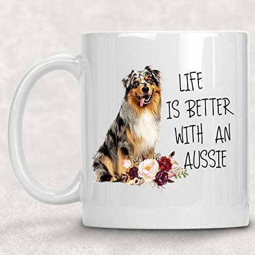 Australian Shepherd Mug Dog - Life is Better with an Aussie Australian Shepherd Watercolor Mug Dog Lover Coffee Cup