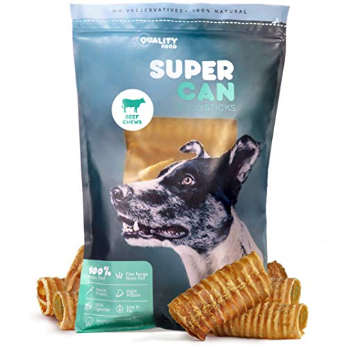 SUPER CAN BULLYSTICKS Beef Trachea Chews for Dogs - All Natural Sourced from The Finest Free Range Grass Fed Beef - Naturally Rich in Glucosamine and Chondroitin (3