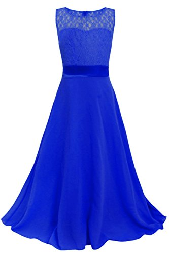 YMING Kids Girl's Lace Flower Chiffon Junior Bridesmaid Wedding Gown Party Dress(Blue,10-11 - Junior Report Gold