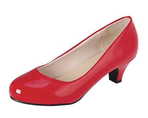 (Cambridge Select Women's Classic Dress Formal Round Toe Low Mid Heel Pump (8.5 B(M) US, Red))