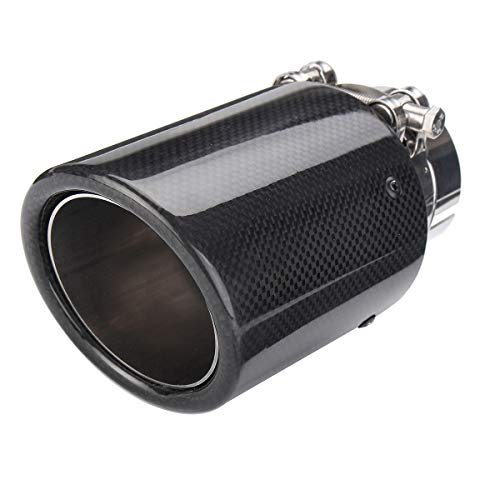 - Oneuda Car Styling Universal 2.5inch 63mm-Inlet 89mm-Outlet Glossy Black Carbon Fiber Car Exhaust Tip Tail Pipe Muffler