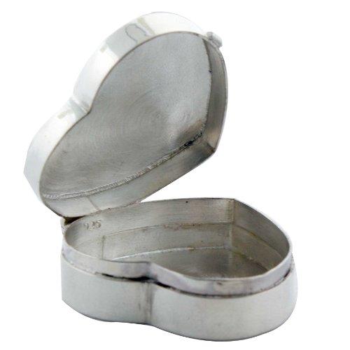 Solid Plain Sterling Silver Heart-shaped Keepsake Box