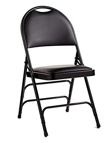 Samsonite 57314 Folding Chair (4-Pack) Black Comfort Series Steel and Padded Vinyl Folding Chairs