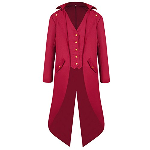 ULUIKY Mens Gothic Tailcoat Steampunk Jacket Victorian Costume Tuxedo Uniform Halloween Costume (XL, Red)]()