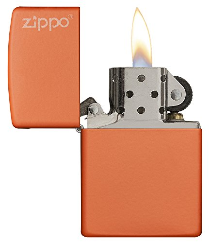 Zippo Orange Matte Logo Pocket Lighter