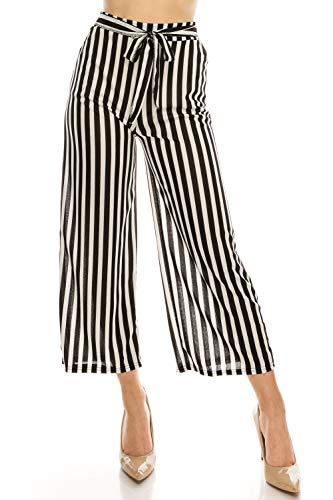- LA12ST Women High Waist Casual Self Tie Stripe Wide Leg Palazzo Pants Trousers