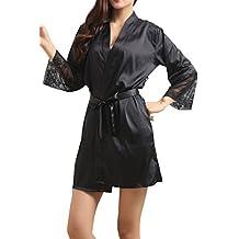 Lasher Women's Bathrobes Short Kimono Robe Satin Sleepwear Silky Lace Lingerie