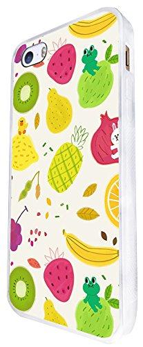1365 - Cool Fun Trendy Cute Kawaii Pineapple Fruit Holiday Tropical Design iphone SE - 2016 Coque Fashion Trend Case Coque Protection Cover plastique et métal - Blanc