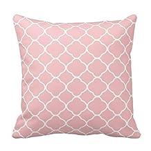 "Home Decorative Pretty Blush Pink White Quatrefoil Pattern Pillows Throw Pillow Cover Cushion Case 18"""