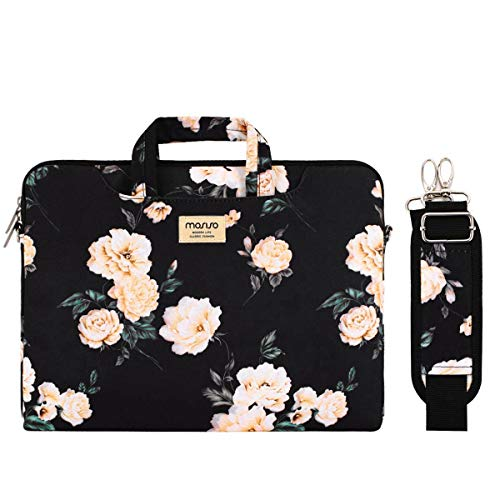 MOSISO Laptop Shoulder Bag Compatible 14-15.6 Inch 2018 2017 2016 MacBook Pro Touch Bar A1990 A1707, Chromebook Notebook, Canvas Pattern Briefcase Sleeve with Back Trolley Belt, Black Base Peony ()