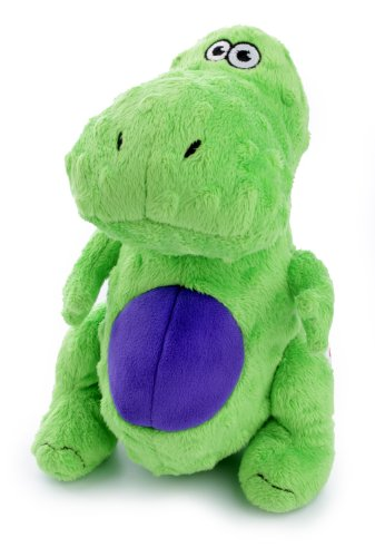 goDog Dinos T-Rex Tough Plush Dog Toy with Chew Guard Techno
