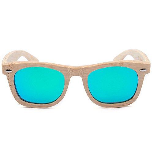 Sol Artesanal UV400 Madera Madera bambú para Green de Hombre Color Retro Sombras de Hombre Mano Mano a Green de de Hecho único para a SunglassesMAN Gafas Yxsd Brazo Hecho Diseño ZFxOPP