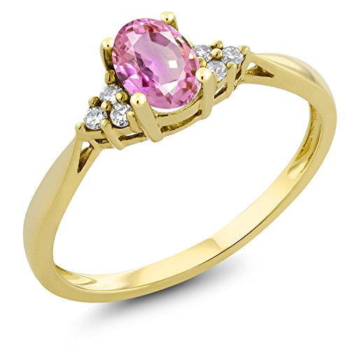 - Gem Stone King 0.55 Ct Oval Pink Sapphire and Diamond 14K Yellow Gold Ring (Size 7)