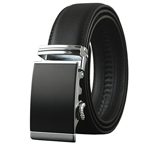 54 Black Cube - Men's Leather Ratchet Dress Belt with Automatic Buckle Big and Tall (150cm(Up to waist 54