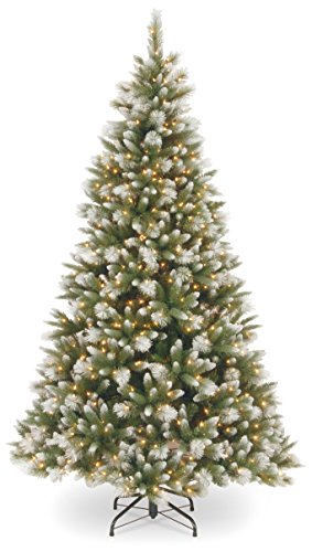 Alaskan Pine Wreath Clear Lights - National Tree 7.5 Foot Feel Real Frosted Alaskan Pine Tree with 550 Clear Lights, Hinged (PEFAP7-308-75)