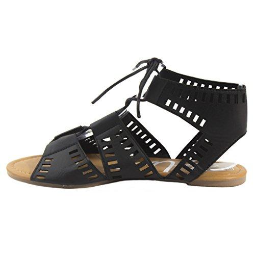 Blå Kvinna Caloya-h Snörning Platt Mode Sandaler Caloya-svart