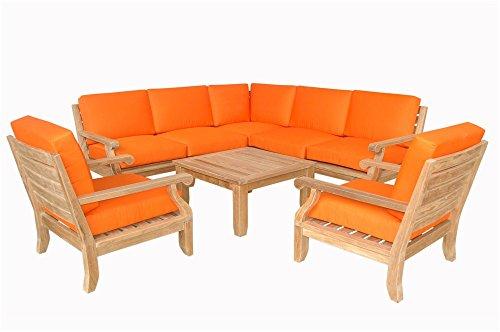 Anderson Teak Set (Anderson Teak Set-94 6 Piece Riviera Luxe Modular Deep Seating Teak Outdoor)