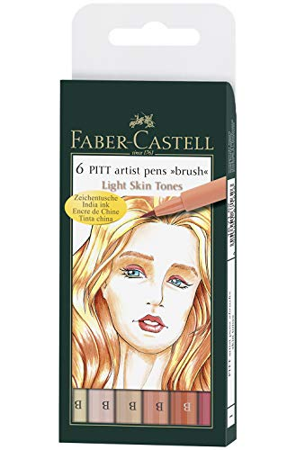 Faber-Castell India Ink Pitt Artist Pens, Set of 6 Brush Tip (B), Skin Tones (FC167162)