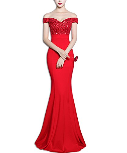KAXIDY Encaje Largos Vestido Elegante Mujer Vestidos Vestidos de Novia Vestidos Noche Rojo