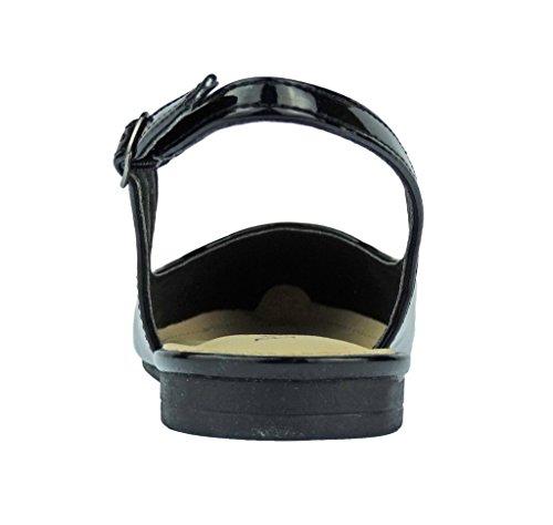 Pierre Dumas Kvinna Slingback Abby-14 Vegan Läder Spetsig Tå Slingback Mode Klänning Flats Skor Svart Patent
