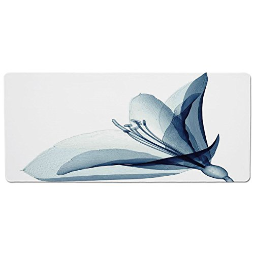 - iPrint Pet Mat for Food and Water,Xray Flower,X ray Inspired Transparent Image of Amaryllis Flower Nature Decorating Artwork,Teal White,Rectangle Non-Slip Rubber Mat for Dogs and Cats