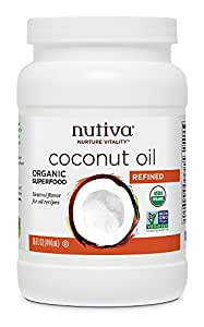 Nutiva Organic, Neutral Tasting, Steam Refined Coconut Oil from non-GMO, Sustainably Farmed Coconuts, 15-ounce