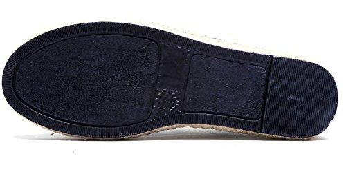 Geruite & Effen Unisex Heren Dames Effen Kanten Espadrille Flats Canvas Sneakers Plimsolls Blauw