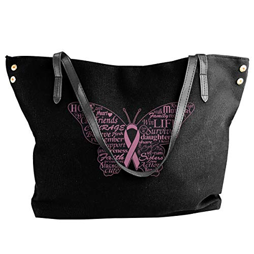 Canvas Tote Bag Pink Ribbon Butterfly- Breast Cancer Totes Purse Handbags Shoulder Bags For Women