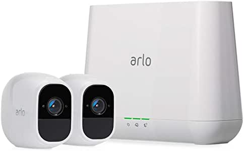 Arlo Pro 2 - 2 Camera System, Work with Alexa, Inbuilt alarm siren, Rechargeable, Wire-Free, 1080p HD, Audio, Indoor/Outdoor, Night Vision (VMS4230P-100AUS)