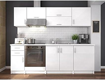 Mueble de cocina, completo, largo de 240 cm, color blanco brillante: Amazon.es: Hogar