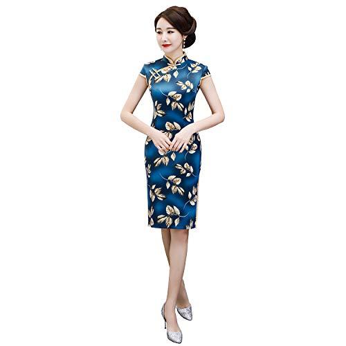 Shanghai Story Faux Silk Knee Length Cheongsam Short Sleeve Qipao Chinsse Dress 4XL 61