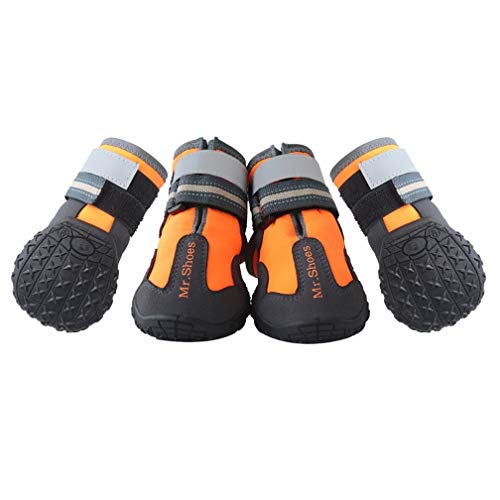 MR-BABULA Dog Shoes, Outdoor Mountaineering Waterproof Anti-Skid, relective Banded Dog Boots(Orange,Size 4/5/6)
