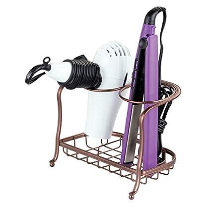 mDesign Soporte para secador de pelo o rizador – Soporte para plancha de pelo, secador