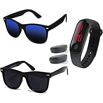 Sheomy New Arrival Special Collection of Festive Seasons Black Color Unisex UV Protected Avaitors, Aviators and Sunglasses Combo Ideal for Boys, Girls, Men, Women (SNLD-088)