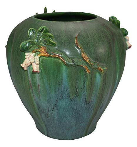Ephraim Faience Pottery 2009 Experimental Green with Pink Flowers Ceramic Vase